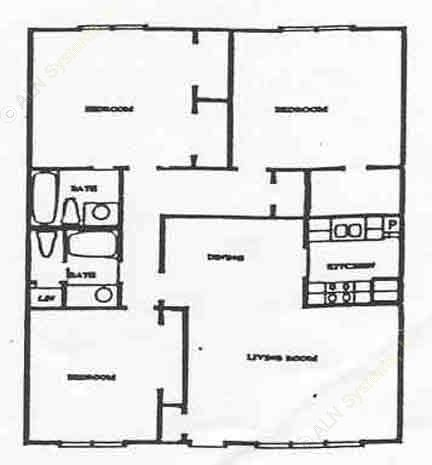 1,284 sq. ft. C2 floor plan