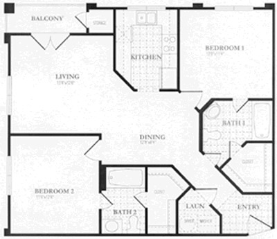 1,028 sq. ft. to 1,032 sq. ft. floor plan