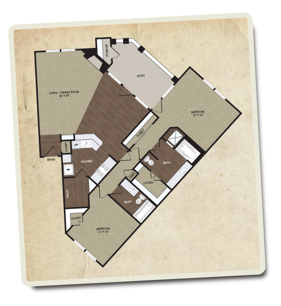 1,296 sq. ft. Trinity floor plan