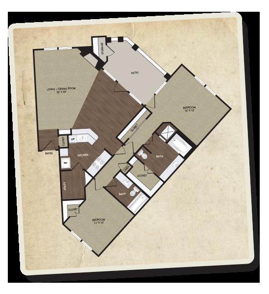 1,296 sq. ft. Trinity floor plan