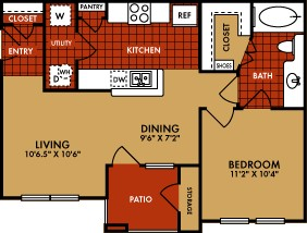 688 sq. ft. Telluride (A1) floor plan