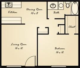 759 sq. ft. A3 floor plan