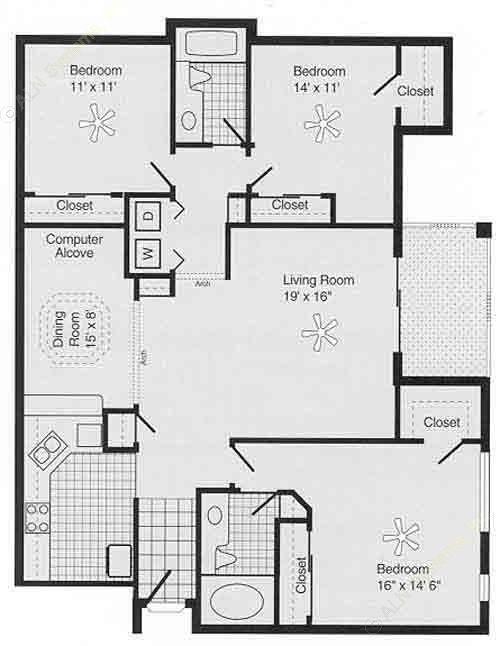 1,488 sq. ft. I PH II floor plan