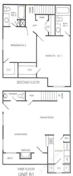 1,235 sq. ft. B1 floor plan