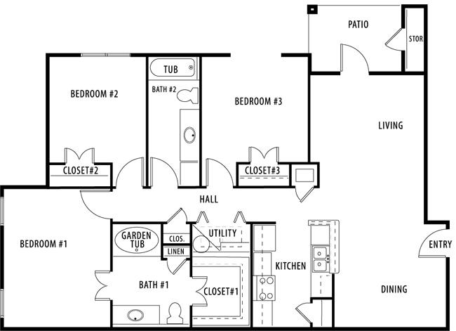 1,316 sq. ft. C1 floor plan