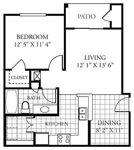 652 sq. ft. A1/60% floor plan