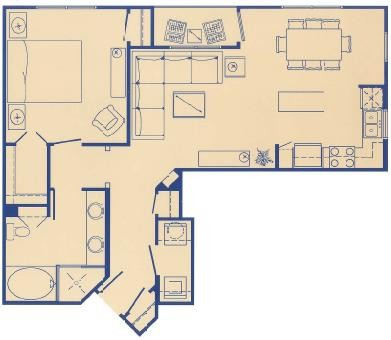 809 sq. ft. B floor plan