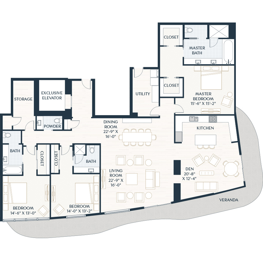 3,131 sq. ft. C2.1D floor plan