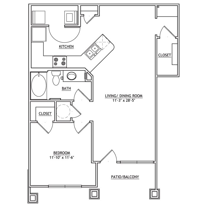 783 sq. ft. AA2 floor plan
