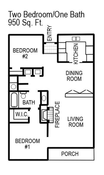 980 sq. ft. floor plan