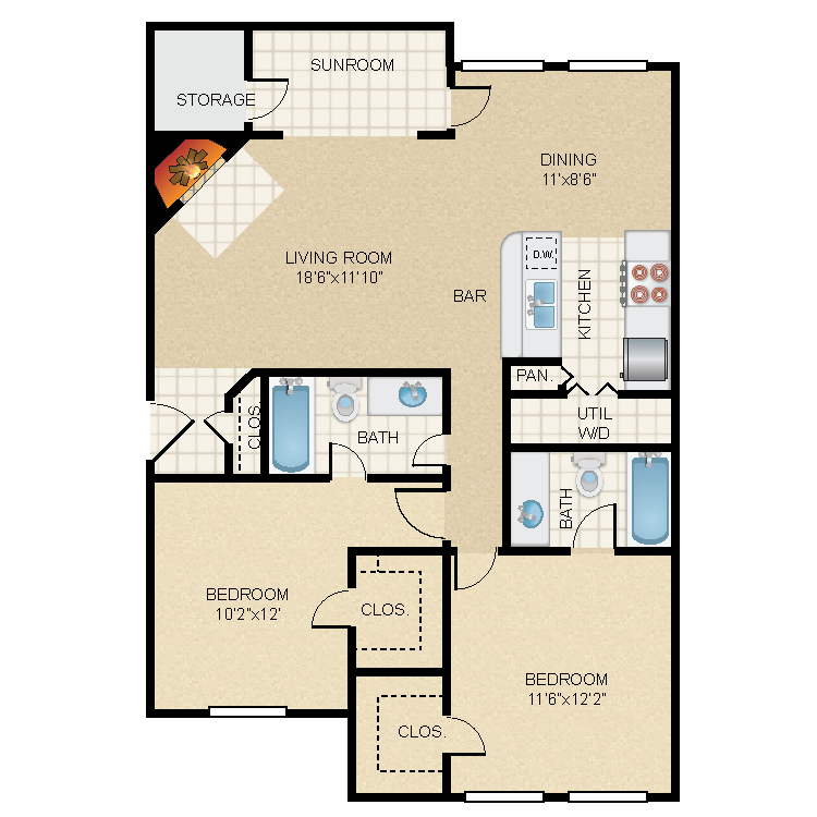 1,139 sq. ft. B1s floor plan