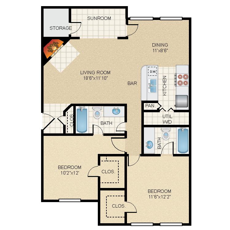1,139 sq. ft. B1s floor plan