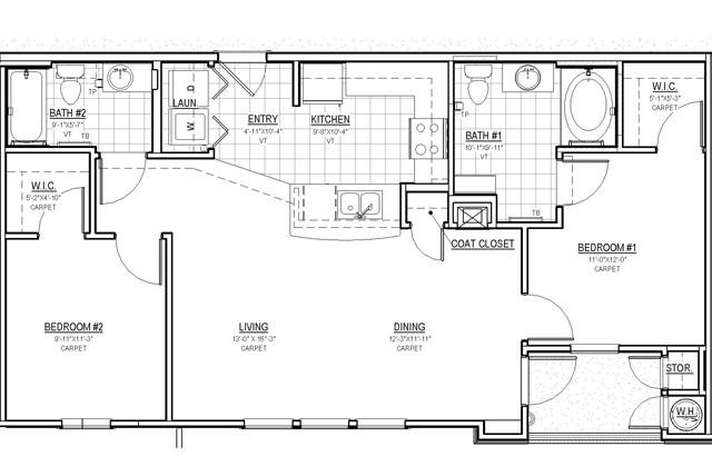 972 sq. ft. B/30% floor plan