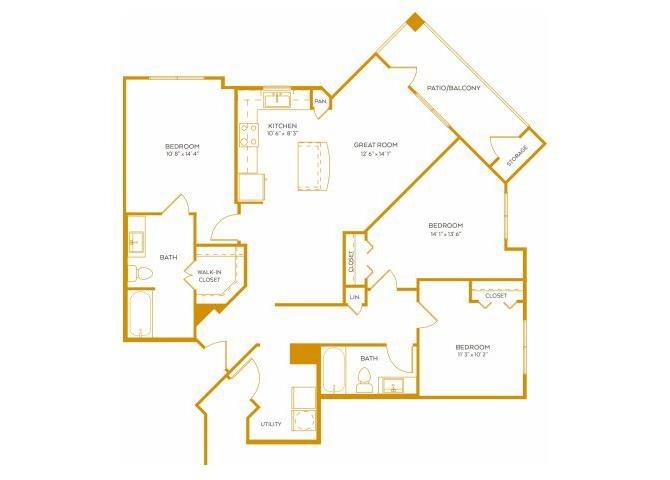 1,320 sq. ft. C1AG floor plan