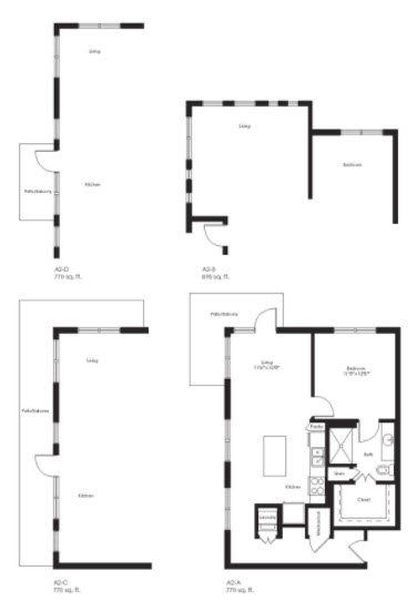 770 sq. ft. A2C floor plan
