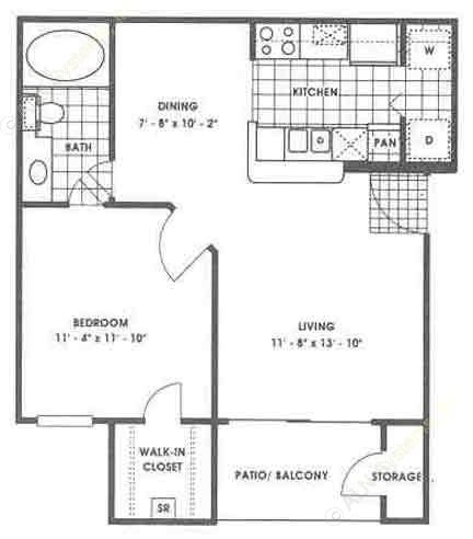602 sq. ft. A1/Appalachian floor plan