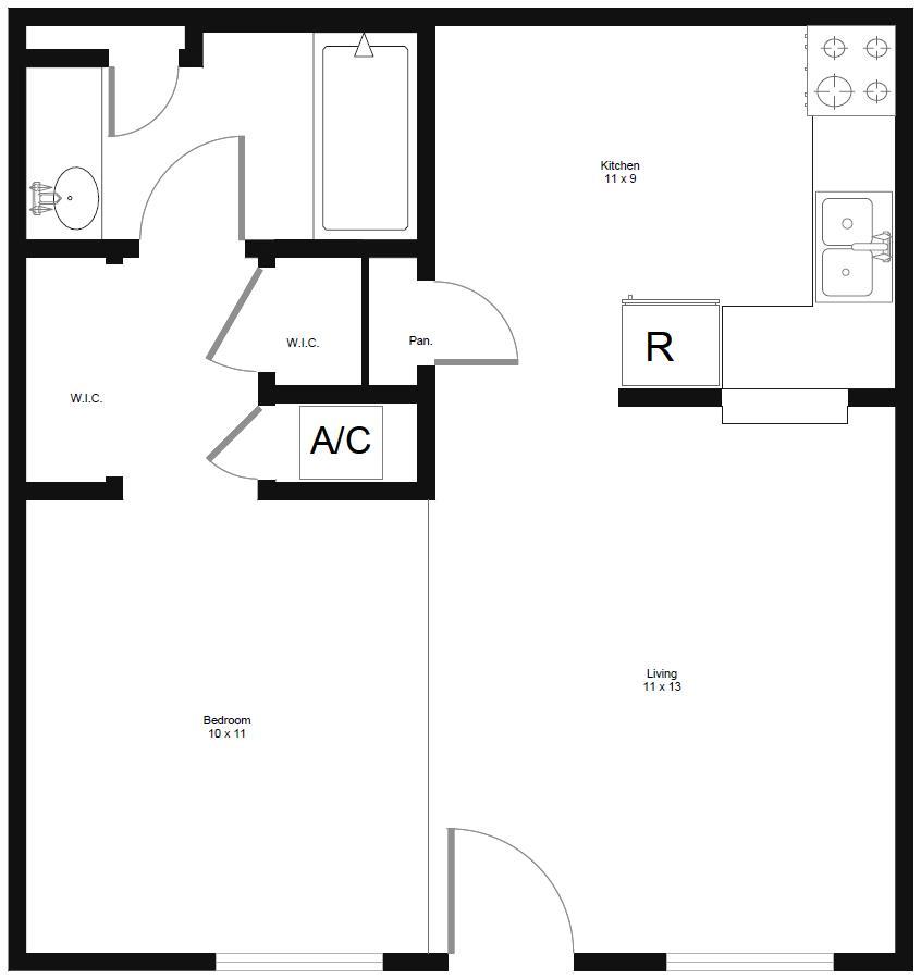 498 sq. ft. E1 floor plan