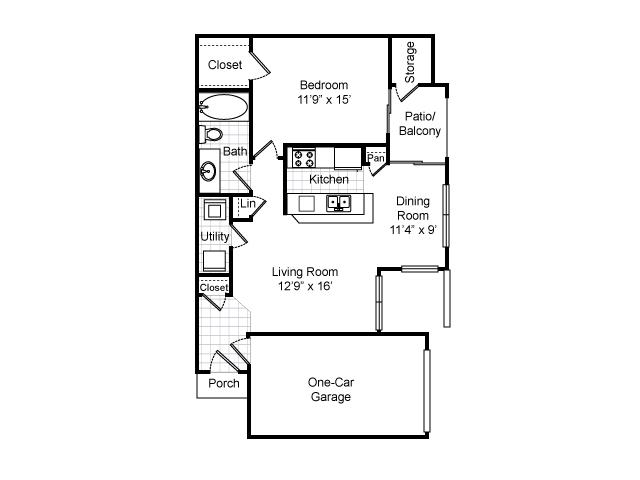 808 sq. ft. A2-GAR. floor plan