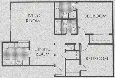 1,042 sq. ft. C2 floor plan