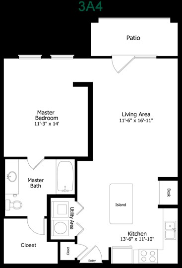 716 sq. ft. to 880 sq. ft. 3A4 floor plan