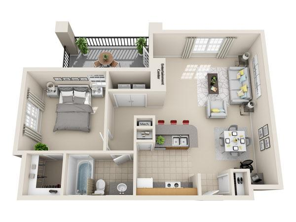738 sq. ft. A2 floor plan