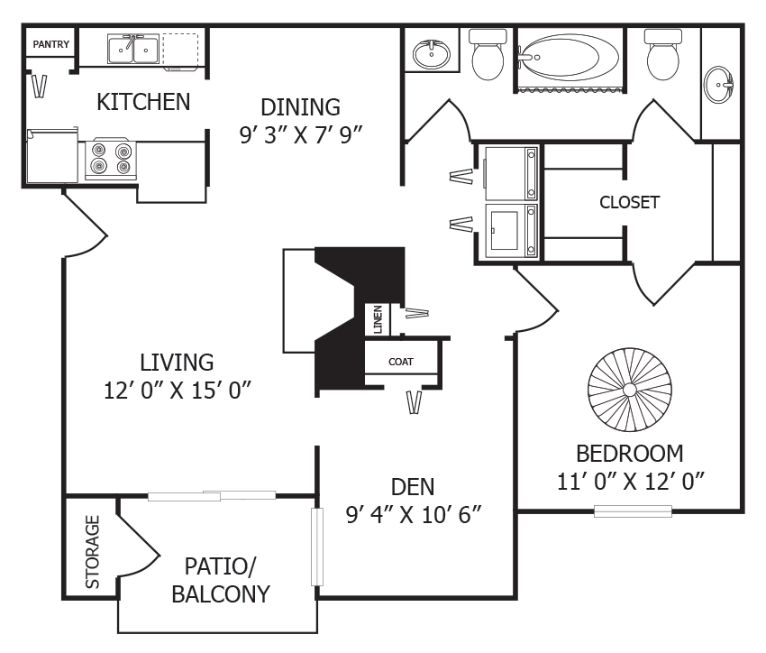 875 sq. ft. A5 floor plan