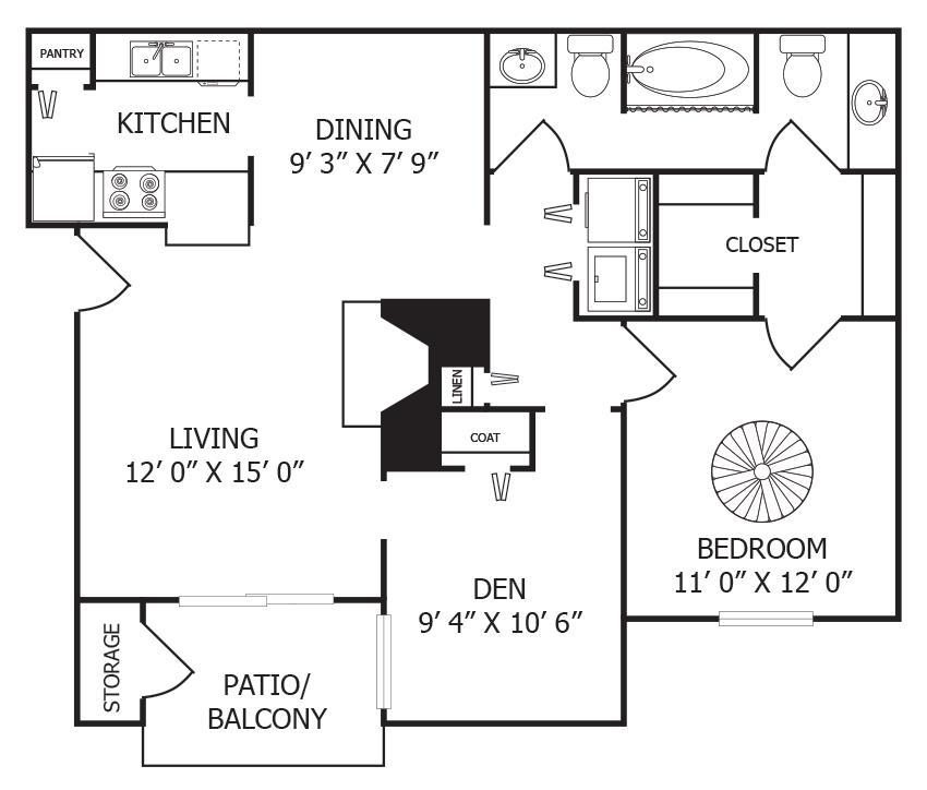 875 sq. ft. A5 floor plan