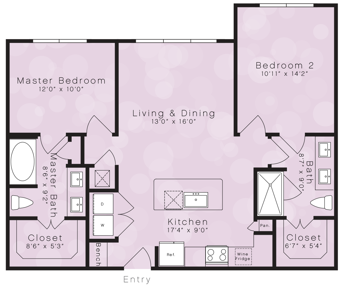 1,004 sq. ft. B1D floor plan