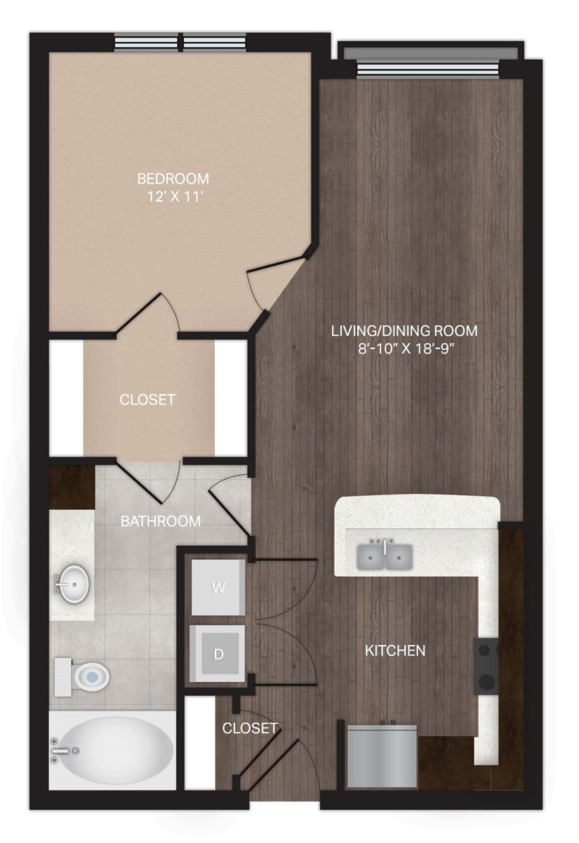 655 sq. ft. A0 floor plan