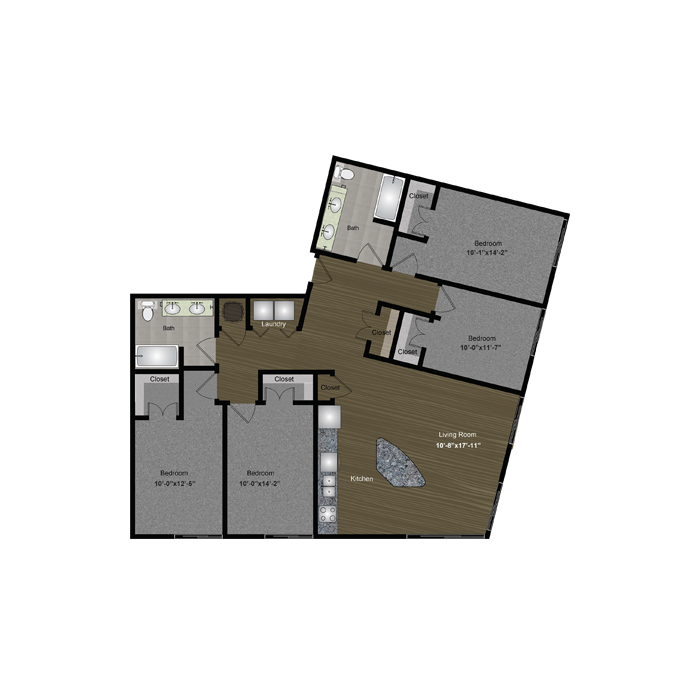 1,612 sq. ft. Waterloo floor plan