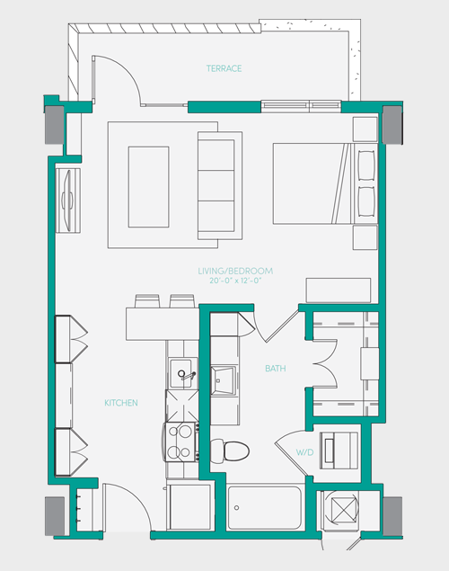 567 sq. ft. S1.3 floor plan