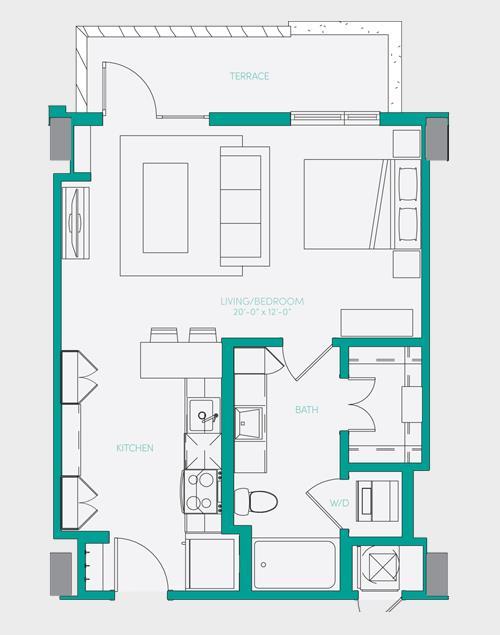 567 sq. ft. S1.3 floor plan