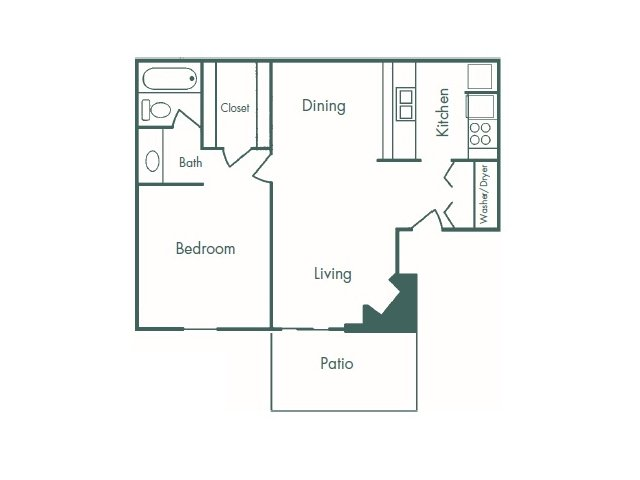 683 sq. ft. LG 1-1 floor plan