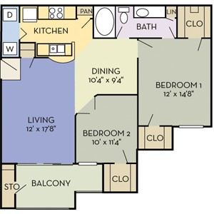 1,045 sq. ft. Bridgeport (B1) floor plan