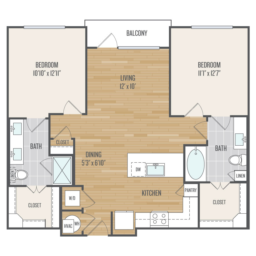 1,047 sq. ft. B2 floor plan
