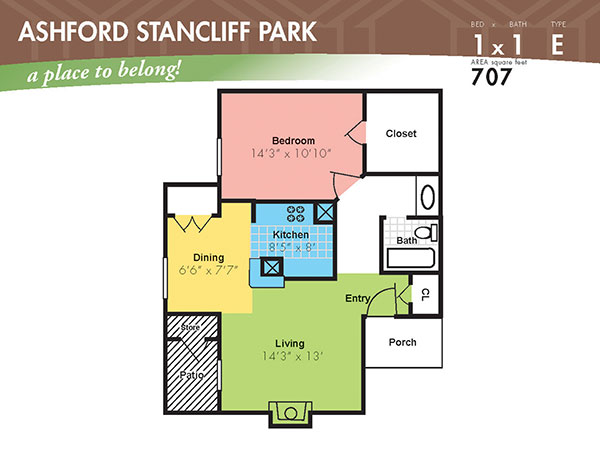 707 sq. ft. E floor plan