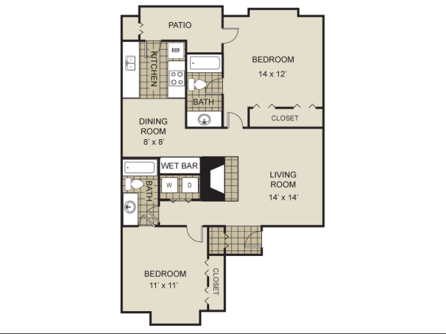 984 sq. ft. B5-A floor plan