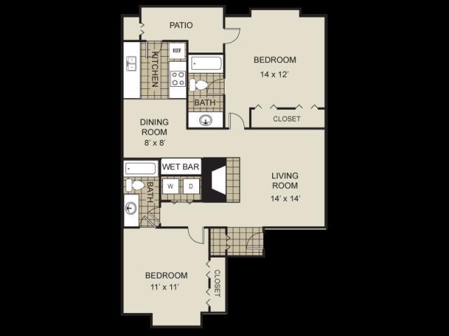984 sq. ft. B5-A floor plan