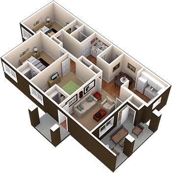 1,096 sq. ft. floor plan