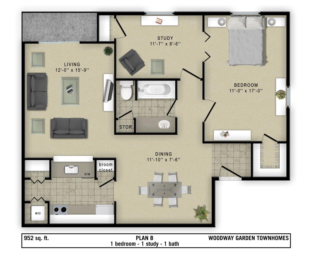 952 sq. ft. B floor plan