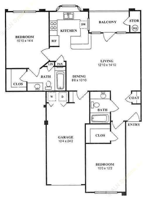 989 sq. ft. B2 floor plan