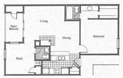 966 sq. ft. C floor plan