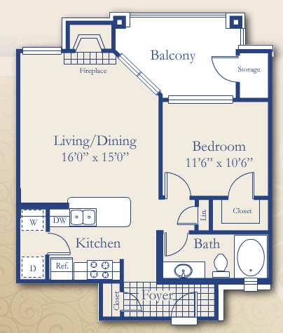 656 sq. ft. Cypress floor plan
