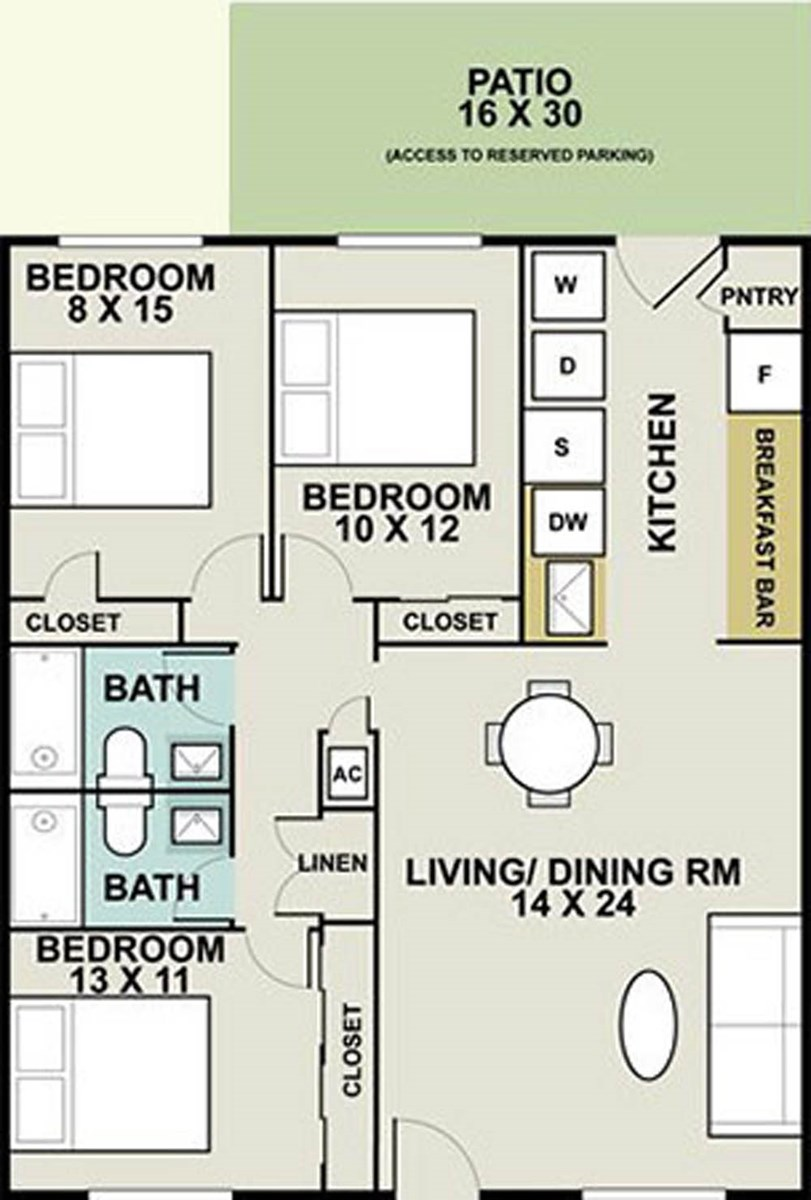 1,231 sq. ft. Kent/Ph I floor plan