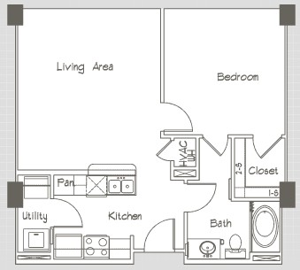 653 sq. ft. P1 floor plan
