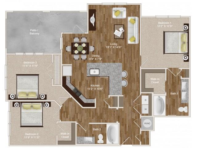 1,331 sq. ft. C1 floor plan