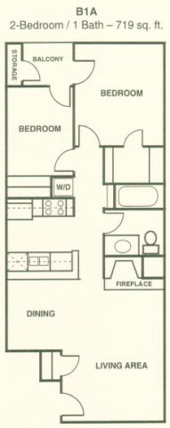 719 sq. ft. B1 floor plan