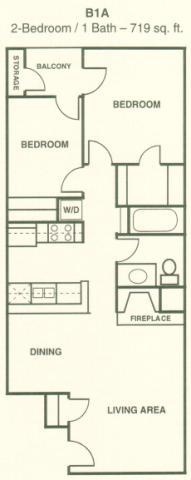 719 sq. ft. B1A floor plan