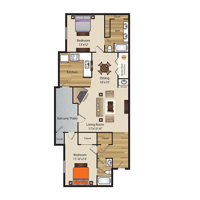 1,140 sq. ft. B3 floor plan