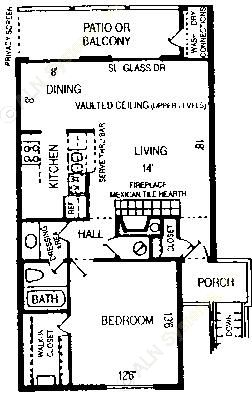815 sq. ft. Jewel floor plan